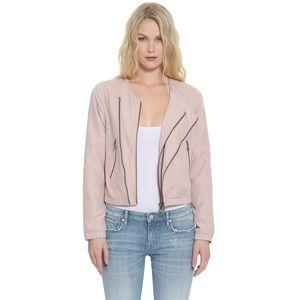 Jackets & Blazers - Lilac Blush Double Zipper Collarless Bomber Jacket